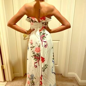 Strapless Butterfly Floral Gown